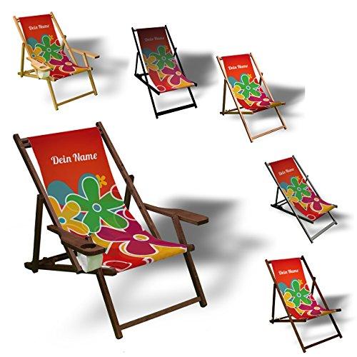 Printalio - Wunschtext - Prilblumen - Liegestuhl Bedruckt Balkon Garten Sonnenliege Relax Holz Terrasse | mit Armlehne, Natur