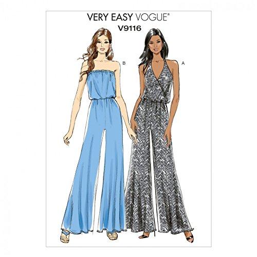 Vogue Damen Schnittmuster 9116breit Sie die Beine Jumpsuits in 2Styles + Gratis Minerva Crafts Craft Guide