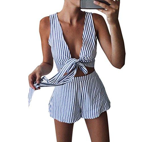 Kolylong® 1 Set Tops+Shorts Frauen V-Ausschnitt Streifen ärmellose Bluse Hemd T-Shirt Sommer Strand kurze Hose (M, Blau) (Short Set Lace)