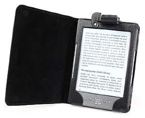 Die original GeckoCovers Amazon Kindle 4 Hülle mit Licht für den AMAZON K. 4 2011 / 2012 für nun 79 Euro (für 15 cm/6 Zoll Display) Cover schwarz / black - Im praktischen Buchstyle mit integrierter Led - Leselampe