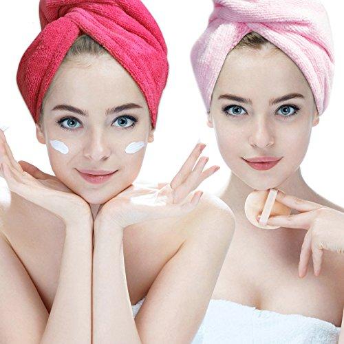 Lot de 2 serviettes pour séchage des cheveux en microfibre ultra absorbante par Hairizone - Bordure en élastique - Pour tous types de cheveux - Rose