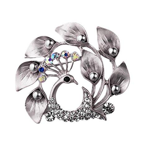 Nikgic 4.0 * 4.5CM Mode Elegantes Peeling Silber Exquisite Pfau Modell Brosche Hochwertige Handwerk Legierung Brosche Tägliches Geschäft Bankett Brosche Zubehör Weibliche Geschenke