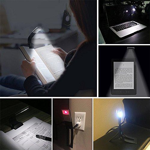 confronta il prezzo Mofek USB Ricaricabile Luce A LED Da Lettura Con Clip 4 Luminosità Regolabile Clip Su E-Reader lettura del segnalibro della lampada miglior prezzo