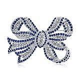 Grande Affermazione di Moda Royal Blu Cristallo Ribbon Arco Spilla Pin per Donne Placcato in Argento