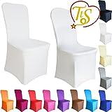 TtS 1 10 20 50 100 Stuhlbezug Elastan / Lycra Stuhlhussen Stuhlüberzug flache Front Hochzeit Event (100 pcs,weiß)