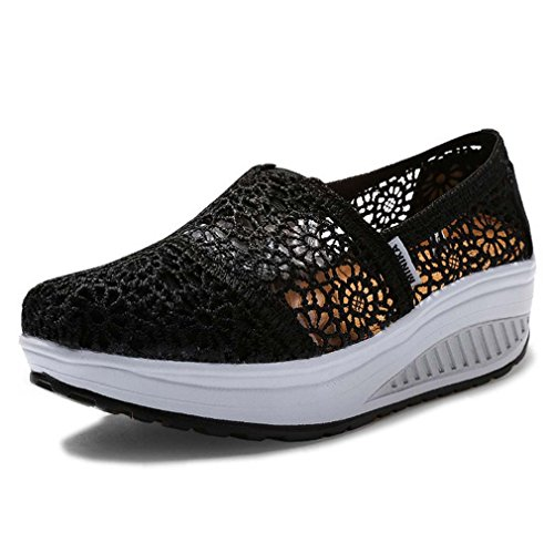 Solshine Women's Lace Breathable Platform Casual Shoes Trainers Slip On Black
