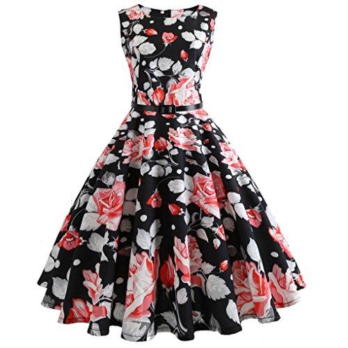 BakeLIN Damen Kleid 50er Jahre Rockabilly Vintage Polka Dots Blumendruck Bodycon Ärmellos Casual Abend Prom Swing Kleid Röcke Petticoat (S~XXL) (XL, 01 Rosa) -