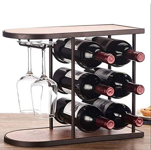MU-RACK Kleines Weinregal, 6 Flaschen Weinständer Moderner kreativer Getränkehalter Hauptdekorationen oO