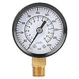 Manómetro de Medidor de Presión de Aceite para Agua Aire Instrumento Probador Medición 0-200 psi 0-14kgf / cm² NPT 1/4 Pulgada