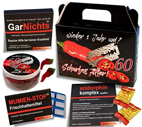 QUATSCHmanufaktur Koffer  / SCHARFES ALTER  / zum 60. Geburtstag (5-teilig) / Witzig / Partygeschenk  / Mitbringsel