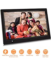 Jimwey 10.1 inch IPS Screen Digital Photo Frame, Digital Picture Frame with Motion Sensor, Timing Power On/Off, Support 1080P HD Video Player, Background Music, USB Drive, SD Card (10.1 inch)