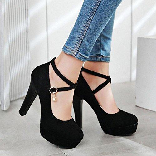 COOLCEPT Femmes Mode Plate-forme Talon hauts Sangle de cheville Chaussures Femmes Soiree Escarpinss Noir