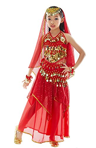 BELLYQUEEN Fille Robe Danse du Ventre Rouge Belly Dance...