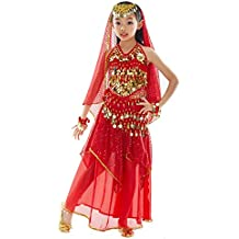 BELLYQUEEN Maillot Danza de Vientre Top Falda Traje de Danza Oriental Fiesta Carnacal para Niña 6