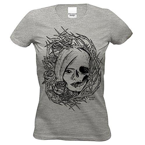 n T-Shirt :-: Halloweenshirt Bikershirt :-: Fade Shirt mit Totenkopf und Rose Farbe: dunkelgrau Gr: XL (Biker Girl Kostüm Halloween)