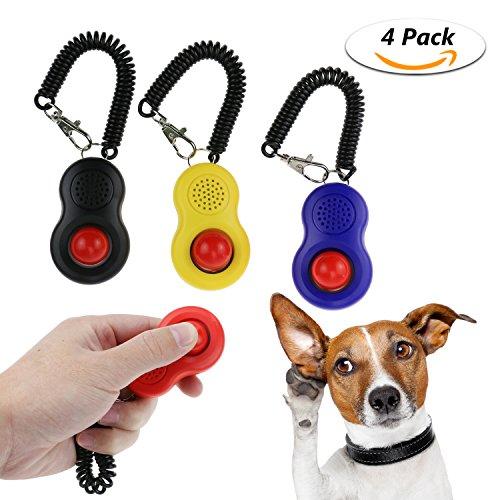 TedGem Training Clicker mit Handschlaufe, Set mit 4 Stück großer Button Clickers Training für Hund, Katze, Welpe, Vogel und Pferd
