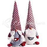 R.P. Coppia Fermaporta Gnomi Elfi con Pelliccia Winter -Pupazzi Decorativi Natale Country Chic h. cm45 - Coppia GNOMI Heart Lui E LEI