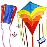 Diamond Kite 78,7cm Single Line Rainbow Kite per bambini e adulti, include nastro colorato, lunga coda, kite Line e bobina Easy Flyer, The Best spiaggia giocattoli per estate divertimento in famiglia, ottima per bambini Kite e principianti Kite, blue