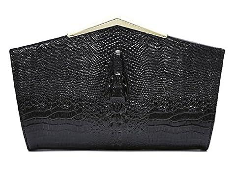 S.orange Women's Crocodile Pattern Cowhide Pentagon Shape Handbag Wedding Party Evening Bag Clutch