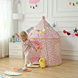 #7: Play House - Foldable Pop-Up Castle Cubby Play Tent - Indoor and Outdoor Playhouse for Kids Secret Garden for Playing, Reading - Great Gift For Girl's Boy's Kids Gifts - Play Hut By KARP - Pink & White Color
