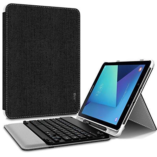 Infiland Tastatur Hülle für Samsung Galaxy Tab S3 9.7, Ultradünn Ständer Schutzhülle mit S Pen Halter für Galaxy Tab S3 9.7 T820/ T825 Tablet (QWERTZ Tastatur,Schwarz)