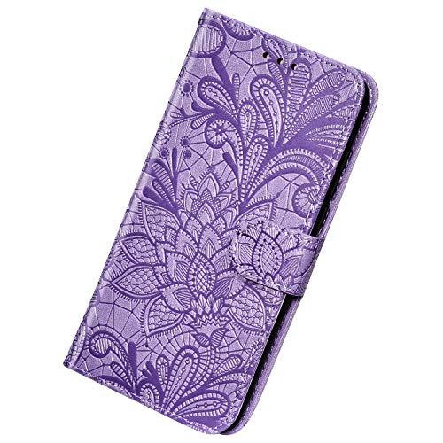 Herbests Kompatibel mit Huawei Mate 30 Lite Hülle Leder Wallet Handyhülle 3D Spitze Henna Mandala Blume Muster Tasche Case Schutzhülle Klappbar Lederhülle Magnetisch Etui mit Kartenfach,Lila