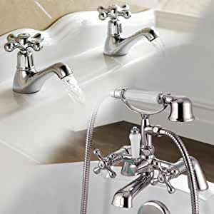 Viscount Traditional Bath Shower Mixer & Basin Tap Pack Chrome