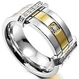 MunkiMix Acero Inoxidable Anillo Ring Banda Venda Cz Cubic Zirconia Circonita Plata Oro Dorado Dos Tono Alianzas Boda Talla Tamaño 12 Hombre