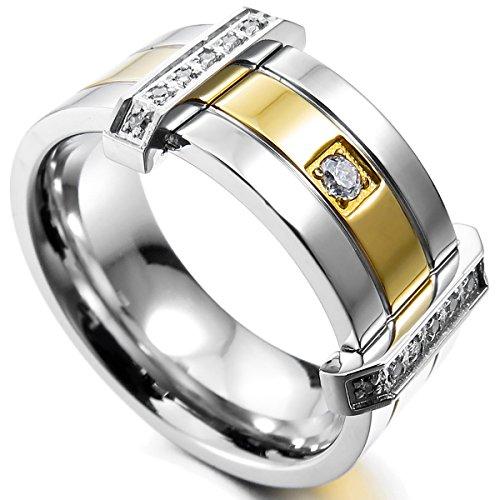 MunkiMix Edelstahl Ring Band CZ Zirkon Zirkonia Silber Golden Zwei Ton Hochzeit Größe 60 (19.1) Herren (Cz Hochzeit Ringe Größe 5 1 2)