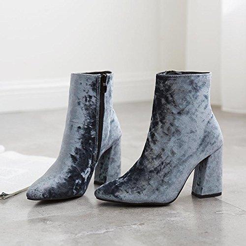 LvYuan-mxx Femmes bottes courtes / Gold velours / pointe pointu / Talon Chunky / chaussures à talons hauts / Bureau et Carrière / Robe / Casual BLUE-40