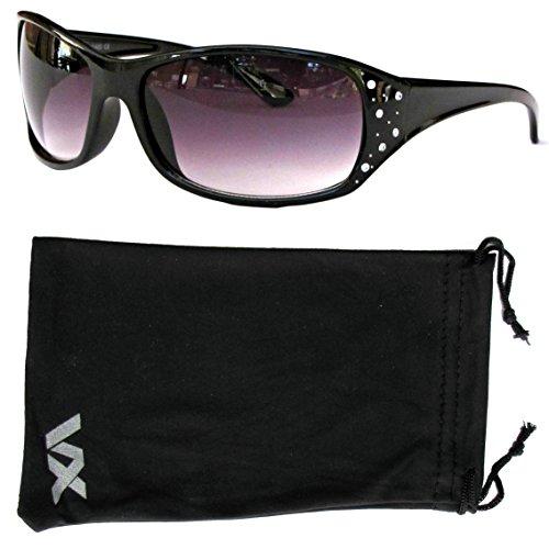 VOX Damen Sonnenbrille Designer Sport Fashion Strass Brille - Schwarzer Rahmen - Getöntes
