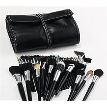 JasCherry Pro 38 Pcs brochas de maquillaje cosméticas Kit con bolsa enrollada de cuero - profesional cepillos / pinceles conjunto para Corrector Sombra de Ojos Ceja Fundación Polvo