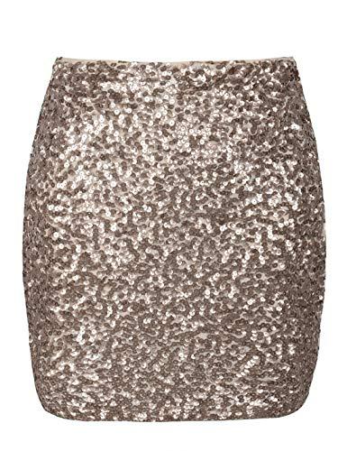 PrettyGuide Damen Pailletten Rock Stretchy Bodycon Glam Mini Club Rock XL Champagner