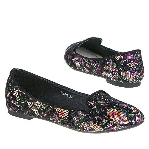 Damen Schuhe, Y18018, BALLERINAS Schwarz Multi