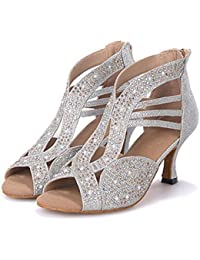 Mujer Latino Jazz Moderno Zapatos De Swing Sandalia Tacones Alto Rendimiento Profesional Pedrería Purpurina Cremallera Tacón