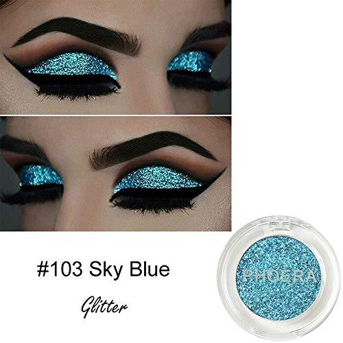 Mineral Eye Color Kit (Lidschatten Palette Matt,PHOERA Glitter Powder Shimmering Colors Lidschatten Metallic Eye Cosmetic,Blau)
