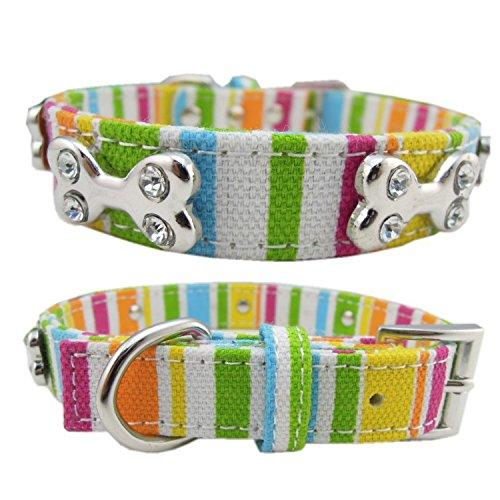 Stripey Hundehalsband mit Strass Knochen Stift für kleine mittelgroße und große Hunde -