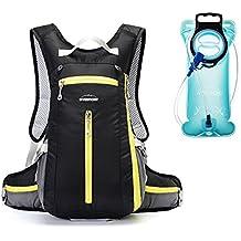 Overmont mochila de hidratación con bolsa de agua azul 2L para senderismo correr bicicleta ciclismo camping
