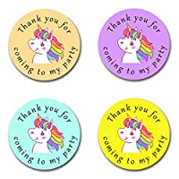 40mm Unicorn *Thank You For Coming To My Party* Round Stickers for Party Bags & Sweet Cones
