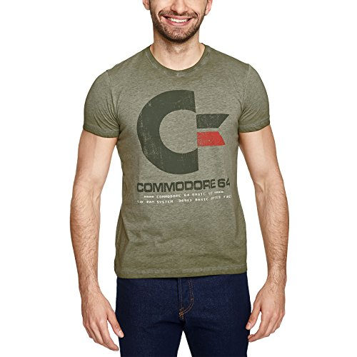 Commodore 64 Logo Vintage T-Shirt Mottled Green, S or L