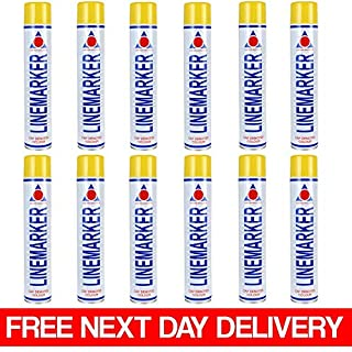 Pack of 12 x 750ml Yellow Aerosol Line Marking Marker Acrylic Spray Paint