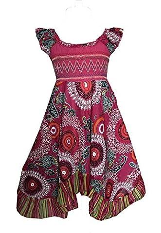 Hübsches Sommerkleidchen, Sommerkleid, Baumwollkleid, pink-bunt, Gr. 146/152
