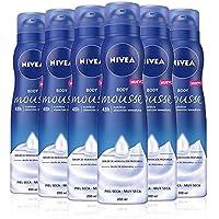 NIVEA Body Mousse Nutritiva, mousse con sérum hidratante para piel seca y muy seca, mousse corporal de rápida absorción con aceite de almendras - pack de 6 x 200 ml