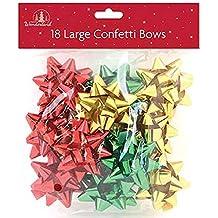 Tallon Christmas - 18 Lazos Grandes de Regalo, Verde, Rojo y Dorado para Navidad