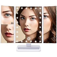 Qivange espejo de maquillaje de vanidad con 24 luces LED, 180 grados de rotación libre 1X / 2X / 3X de aumento de triplicado espejo de vanidad (blanco)