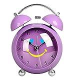LTOOD Europäische kreative Simple Mode faul Metall liebenswerte kleine Wecker Zeiger Mute Scheinwerfer Uhr Student Wecker, Lila 4.5