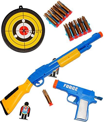 XL Set _ Pistole & Gewehr _ incl. Zielscheibe, Zielfigur & Munition - aus Kunststoff - Spielzeug - für Kinder - Batterie betrieben - drinnen und draußen Spiel - Dartspiel - Kinderdart / Kinderdartspiel - Wurfspiel - Dartboard / Dartscheibe / Pistole Waffe Militär - Karneval Soldaten / Polizei - Maschinengewehr / Sturmgewehr - Plastikgewehr - Kindergewehr - Kinderpistole / Zubehör - Schießspiel - Zielscheiben