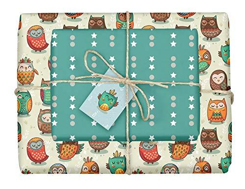 Geschenkpapier-Set für Kinder: Eulen: 4x Einzelbögen + 4 Anhänger