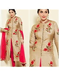 Dharmee Women's Cotton Salwar Suit With Dupatta (Cream Gold,Free Size)