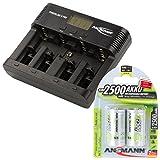 ANSMANN Powerline 5 Pro Akkuladegerät / 5-Fach Ladegerät Zum Laden Entladen & Refreshen/Ideal für Akkus in Den Größen AA AAA C D & 9V / mit USB-Port für Smartphone & co. / inkl 2 2500mAh C Akkus